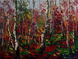 landscape tree birch forest seasons textured oil painting interior art