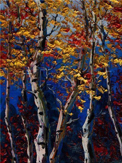landscape tree birch forest seasons textured oil painting wall art
