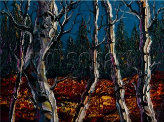 landscape tree birch forest textured canvas oil painting interior art 12x16inches