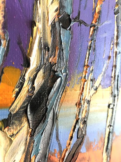 landscape tree birch textured palette knife oil painting wall decor