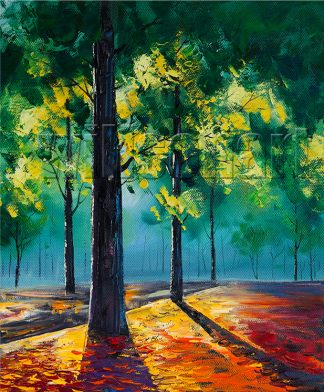 landscape tree seasons textured canvas oil painting wall art 20x24inches