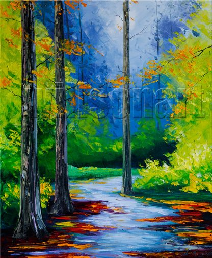 landscape tree seasons textured canvas oil painting wall decor 20x24inches