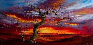 landscape tree sunrise large oil painting wall decor
