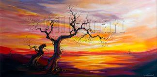 landscape tree sunset large canvas oil painting