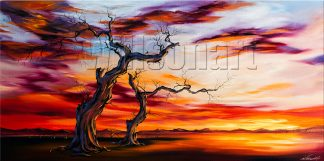 landscape tree sunset large canvas painting wall art