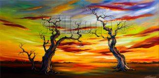 landscape tree sunset large canvas painting wall decor