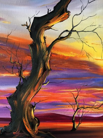 landscape tree sunset large oil painting wall art 24x48inches
