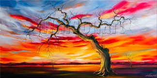 landscape tree sunset large oil painting wall decor