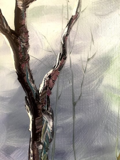 landscape tree textured palette knife canvas painting