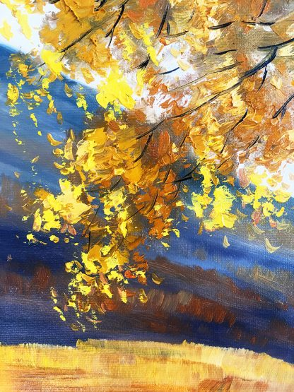 landscape tree textured palette knife canvas painting autumn birch fall colors 16x20inches