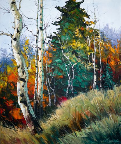 landscape tree textured palette knife oil painting wall decor