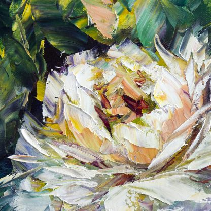 peony flower textured oil painting
