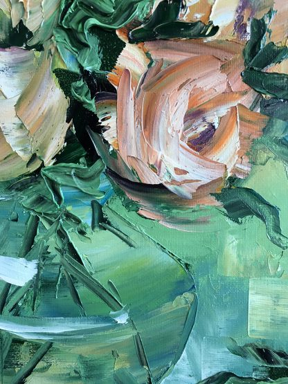 pink rose painting textured palette knife modern art