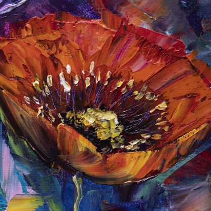 poppy field flower textured canvas oil painting