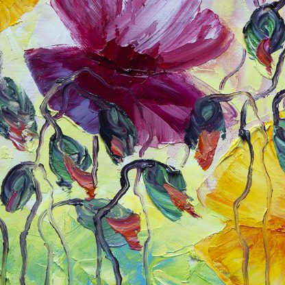 peony field flower textured oil painting