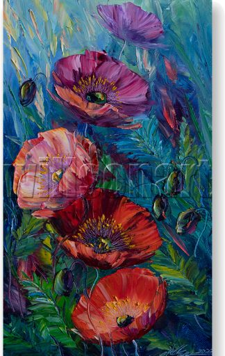 poppy field red flower textured oil painting