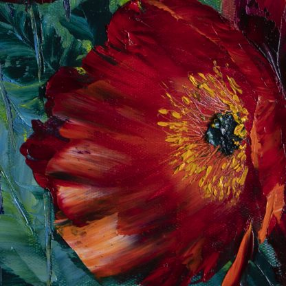 poppy field red flower textured oil painting nature