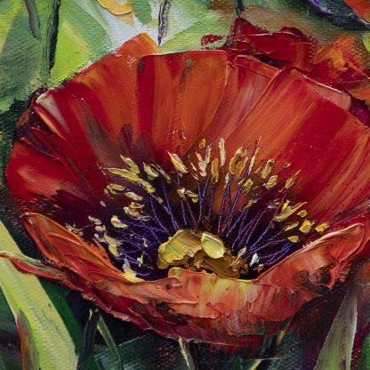 poppy flower textured oil painting