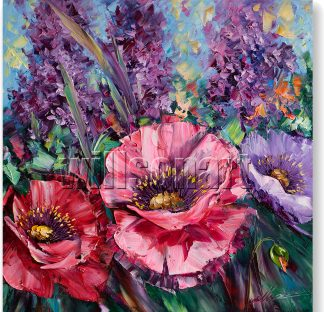 poppy textured palette knife oil painting wall decor