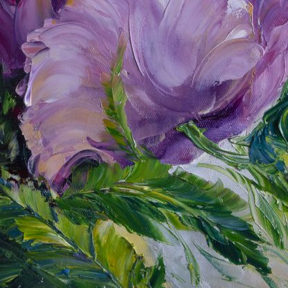 purple flower textured oil painting poppy