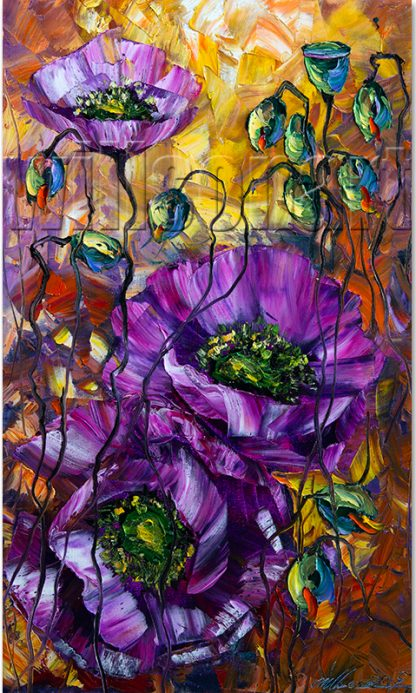 Purple Poppy Field Painting