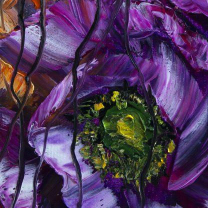 purple poppy flower painting closeup