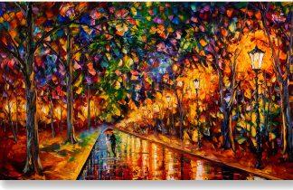 rainy night landscape textured oil painting