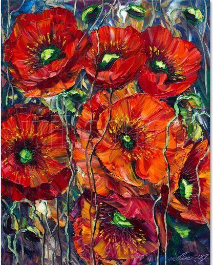 red poppies field flower textured oil painting
