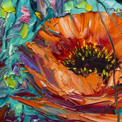 textured red poppy palette knife oil painting closeup