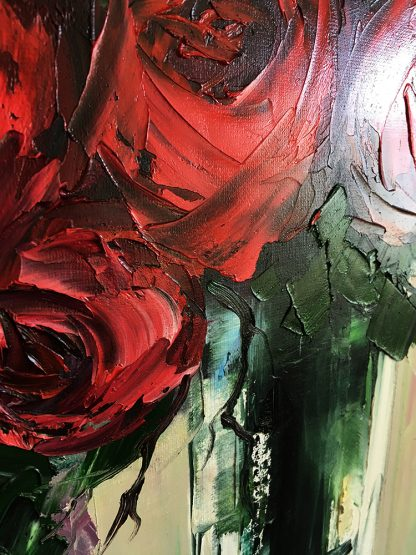 red rose canvas painting textured palette knife
