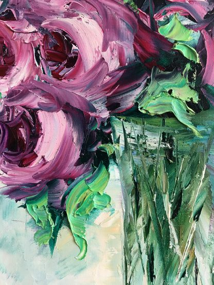 rose flower oil painting textured canvas wall art