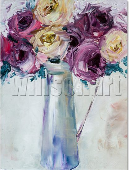rose flower oil painting textured wall art