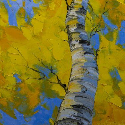 seasons autumn landscape birch forest textured oil painting home decor