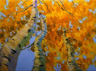 seasons landscape birch forest fall colors textured oil painting home decor