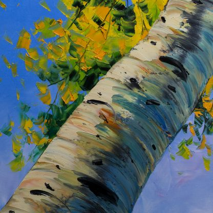 seasons landscape birch forest textured oil painting home decor