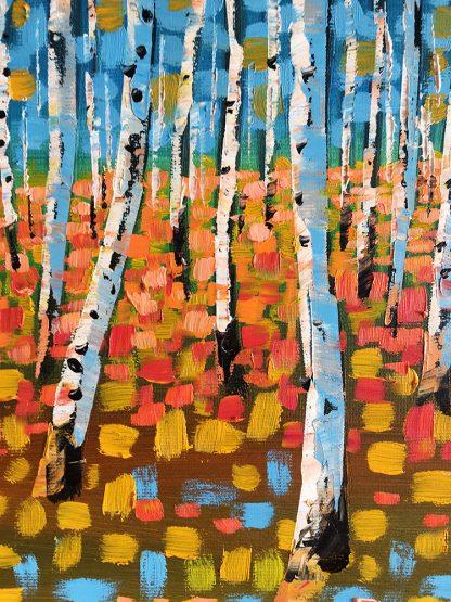 seasons landscape birch forest textured palette knife canvas oil painting