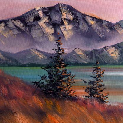 snow mountains landscape large oil painting
