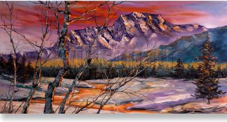 snow mountains landscape textured large oil painting