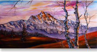 snow mountains textured large oil painting