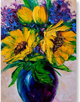 sunflower blue vase textured palette knife canvas oil painting