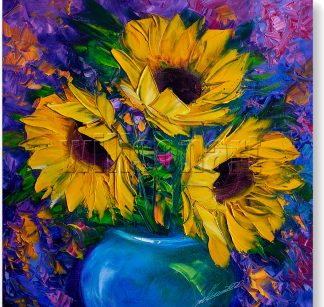 sunflower blue vase textured palette knife oil painting