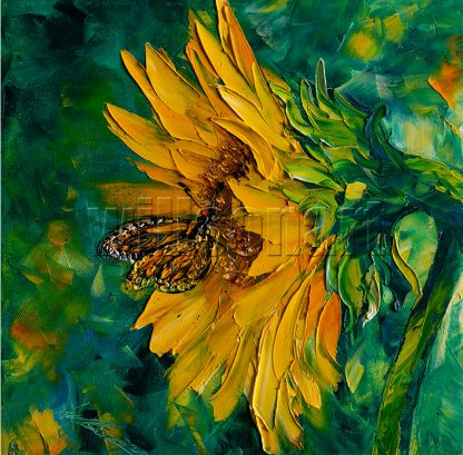 sunflower butterfly textured oil painting 12x12inches