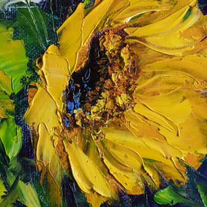 sunflower daisy blue vase flower oil painting textured palette knife