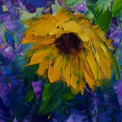 sunflower daisy vase flower oil painting textured palette knife