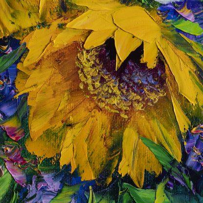 sunflower daisy vase oil painting textured palette knife