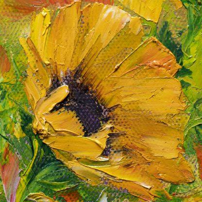 sunflower textured palette knife oil painting