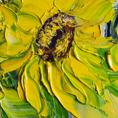 sunflower oil painting textured palette knife blue vase