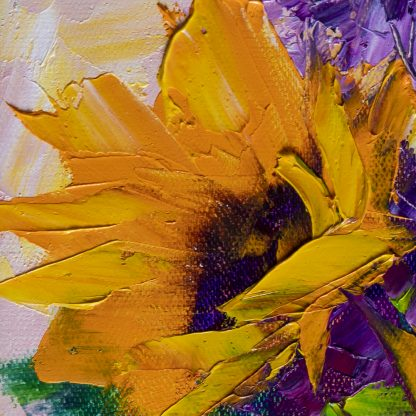 sunflower oil painting textured palette knife canvas art