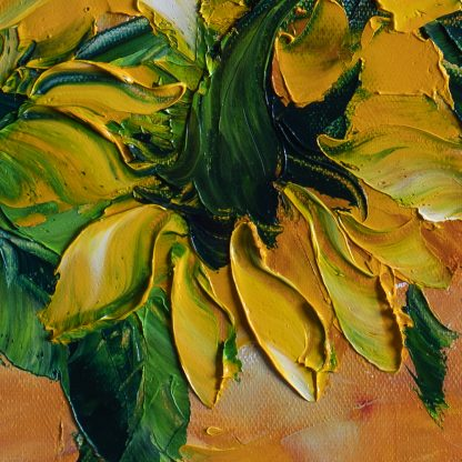 sunflower textured palette knife canvas oil painting