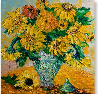 sunflower textured palette knife oil painting green vase